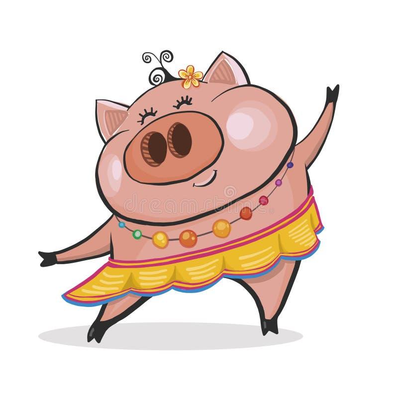 Porc de danse d'ute de ¡ de Ð joyeux le chef heureux de crabots mignons effrontés de personnage de dessin animé de fond a isolé l photos libres de droits