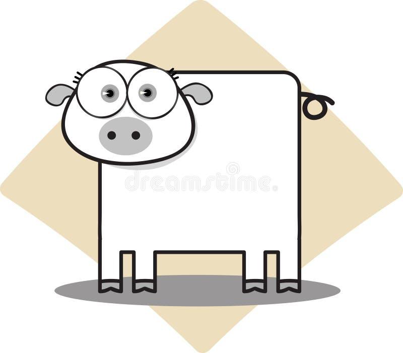 Porc de dessin animé en noir et blanc illustration de vecteur