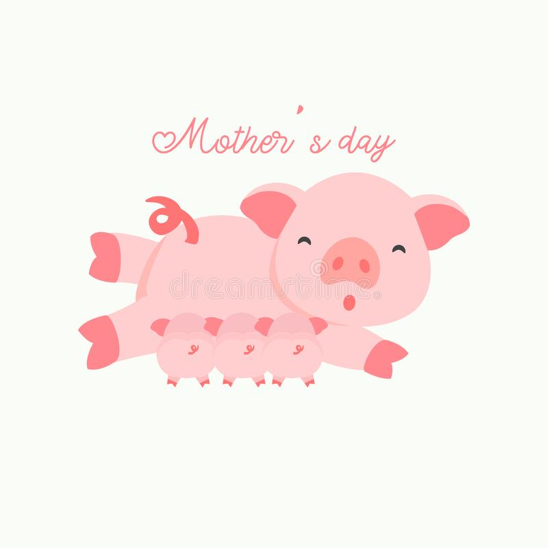 Porc de mère et son bébé Carte de jour du ` s de mère illustration stock