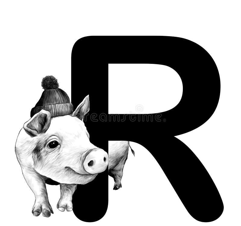 Porc de Noël dans le chapeau chaud avec des piaulements de pompon par derrière la pièce de la lettre R de Noël de mot illustration stock