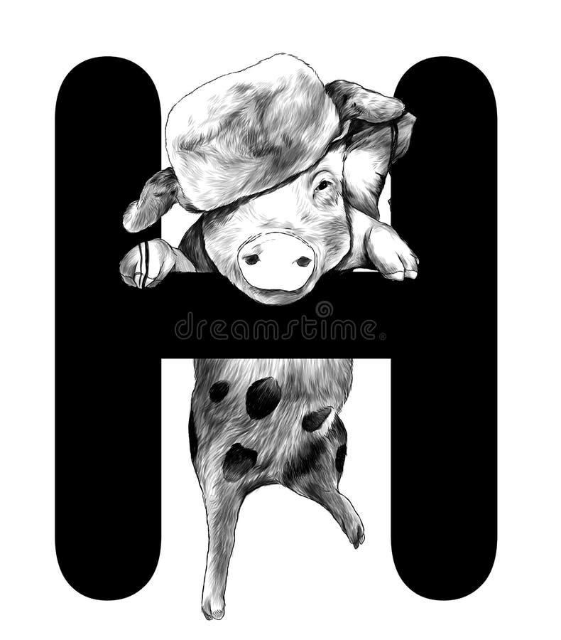 Porc de Noël dans un chapeau chaud accroché sur la pièce de la lettre H de Noël de mot illustration de vecteur