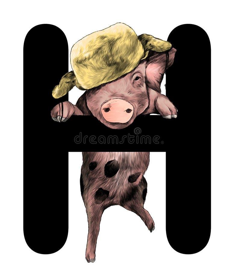 Porc de Noël dans un chapeau chaud accroché sur la pièce de la lettre H de Noël de mot illustration libre de droits