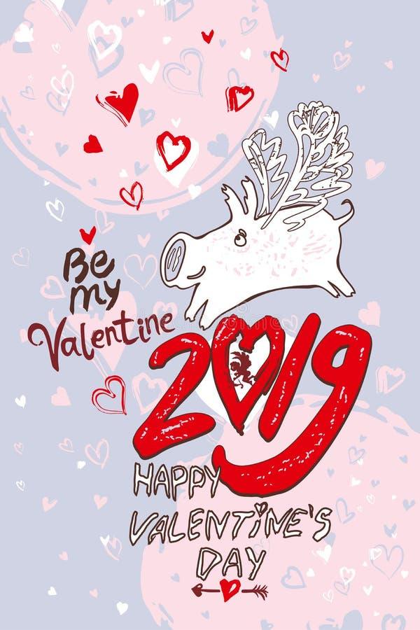 Porc de Saint-Valentin de carte d'amusement en 2019 Jour heureux du `s de Valentine illustration libre de droits