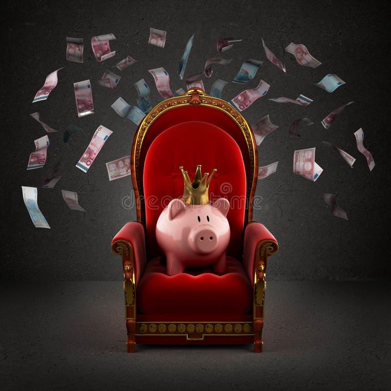 Porc de tirelire dans la couronne sur le trône royal photo libre de droits