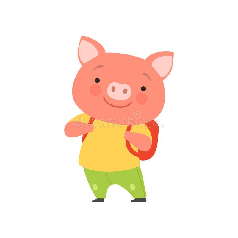 Porc de touristes gai avec le sac à dos, personnage de dessin animé animal mignon voyageant sur l'illustration de vecteur de vaca illustration de vecteur