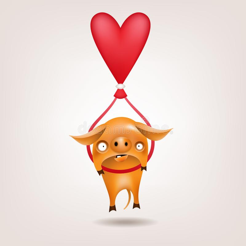 Porc de Valentine ballonning illustration stock