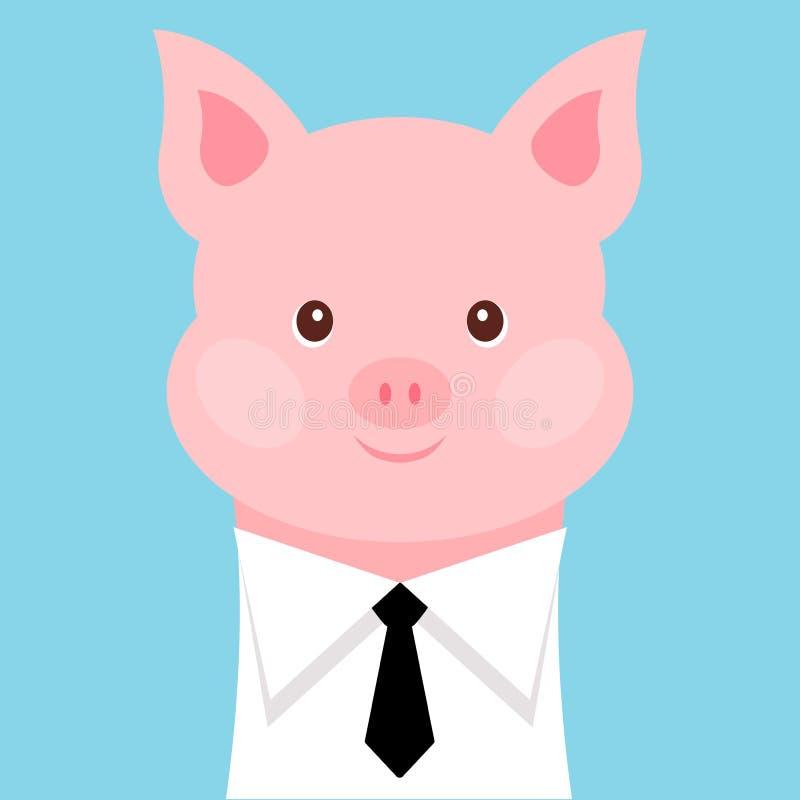 Porc drôle dans une chemise avec un lien Illustration de vecteur illustration de vecteur