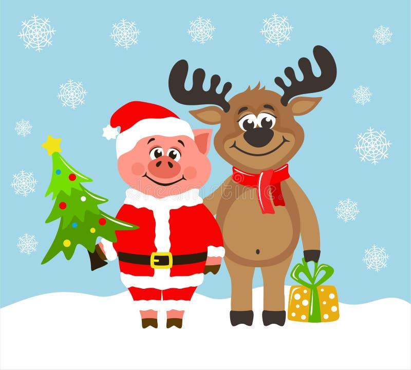 Porc en costume de Santa Claus et renne drôle illustration libre de droits