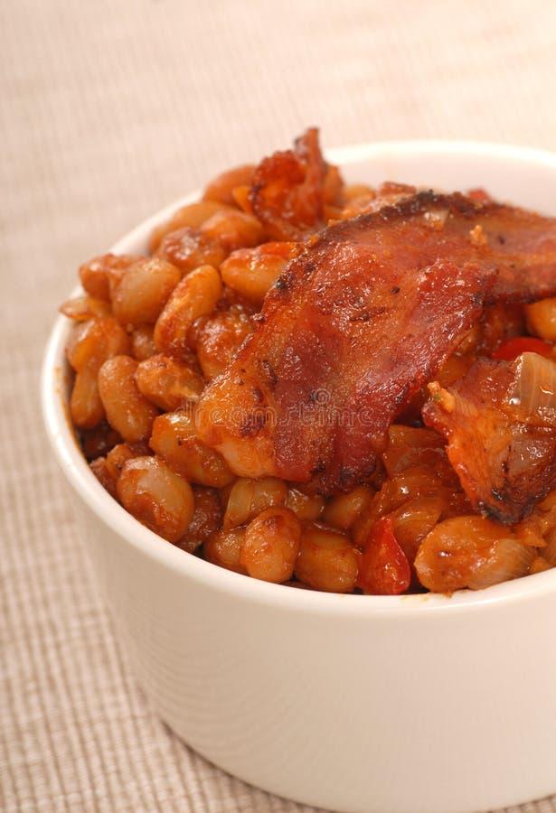 Porc et haricots avec le lard photo libre de droits