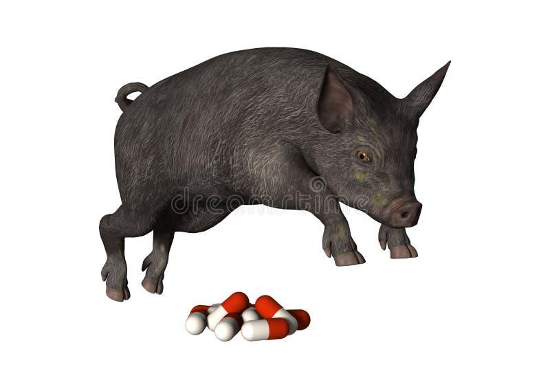 porc et pilules du rendu 3D sur le blanc illustration stock