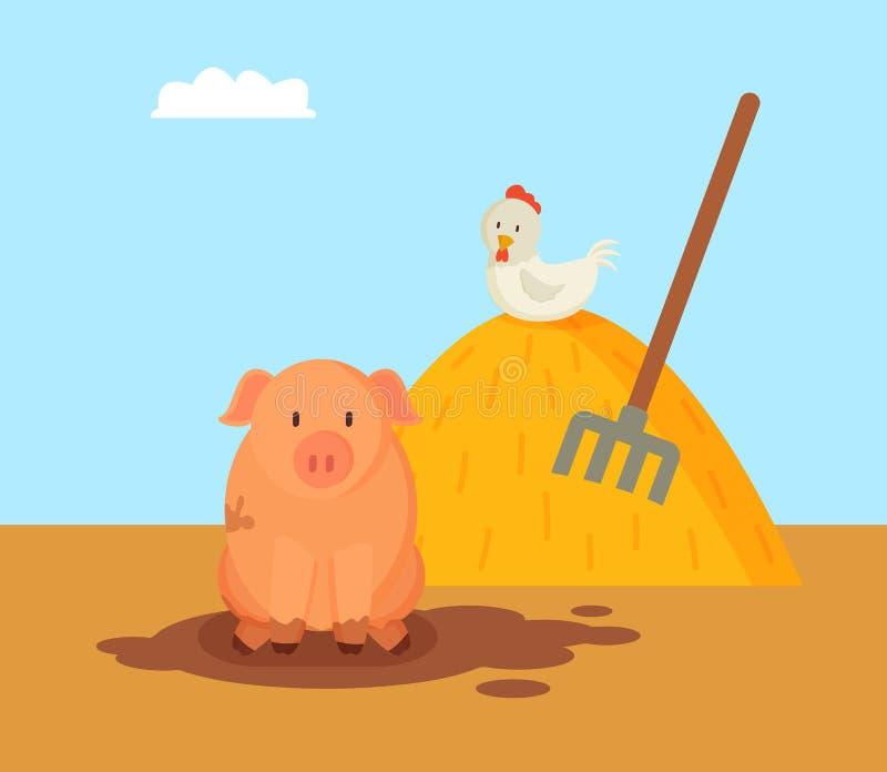Porc et poule domestique sur Hay Vector Illustration illustration stock