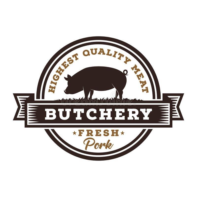 Porc frais Butchary Logo Template illustration libre de droits
