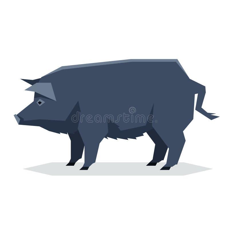 Porc géométrique plat de la Guinée illustration libre de droits