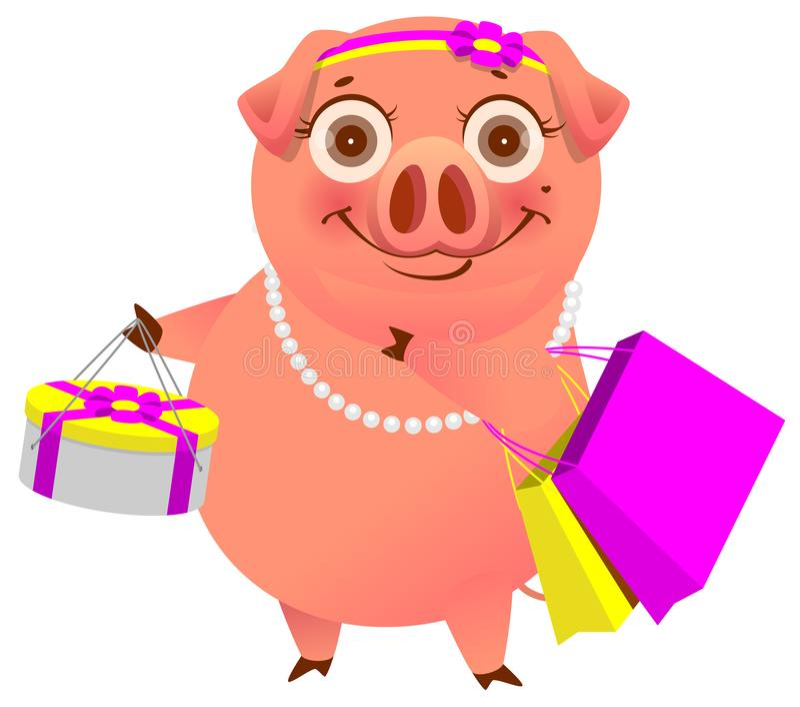 Porc heureux de bande dessinée avec le concept de achat d'achats La femelle garde les sacs et la boîte du magasin illustration stock
