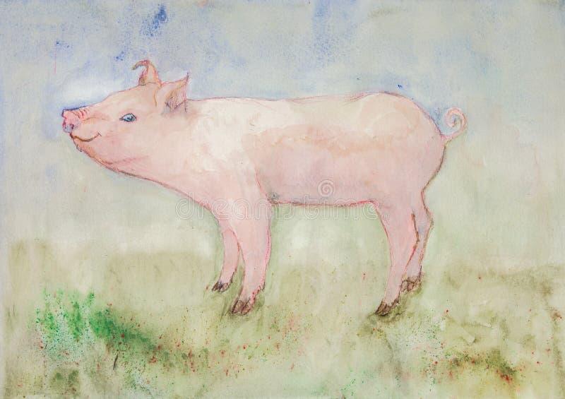 Porc libre sur le côté de pays illustration libre de droits