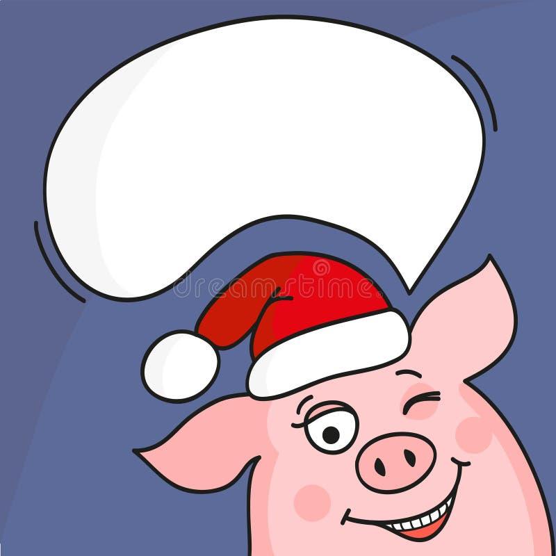 Porc mignon avec la bulle de la parole illustration libre de droits