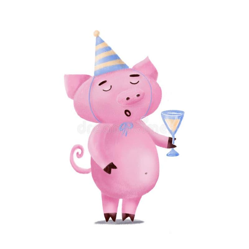 Porc mignon dans le chapeau d'anniversaire tenant le verre, grillant images libres de droits