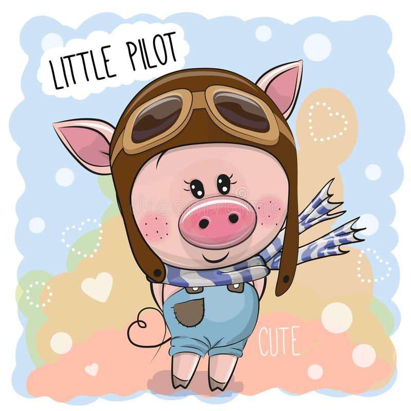 Porc mignon dans un chapeau pilote illustration libre de droits