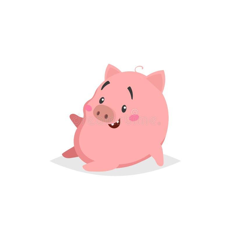 Porc mignon de bande dessinée Sitiing et rires peu de porcelet avec le visage drôle Caractère d'animal domestique Illustration de illustration de vecteur