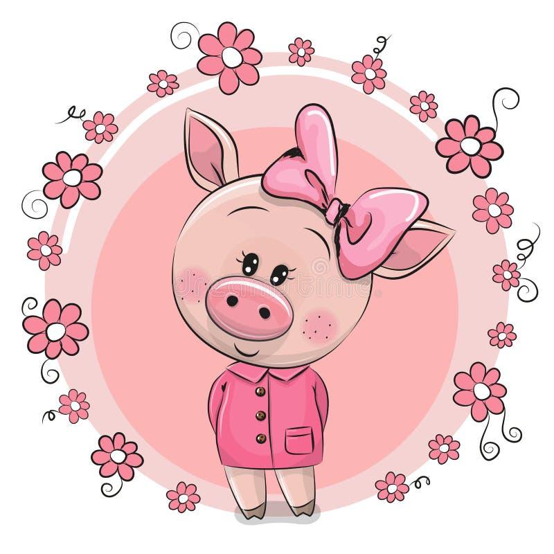 Porc mignon de carte de voeux avec des fleurs illustration libre de droits