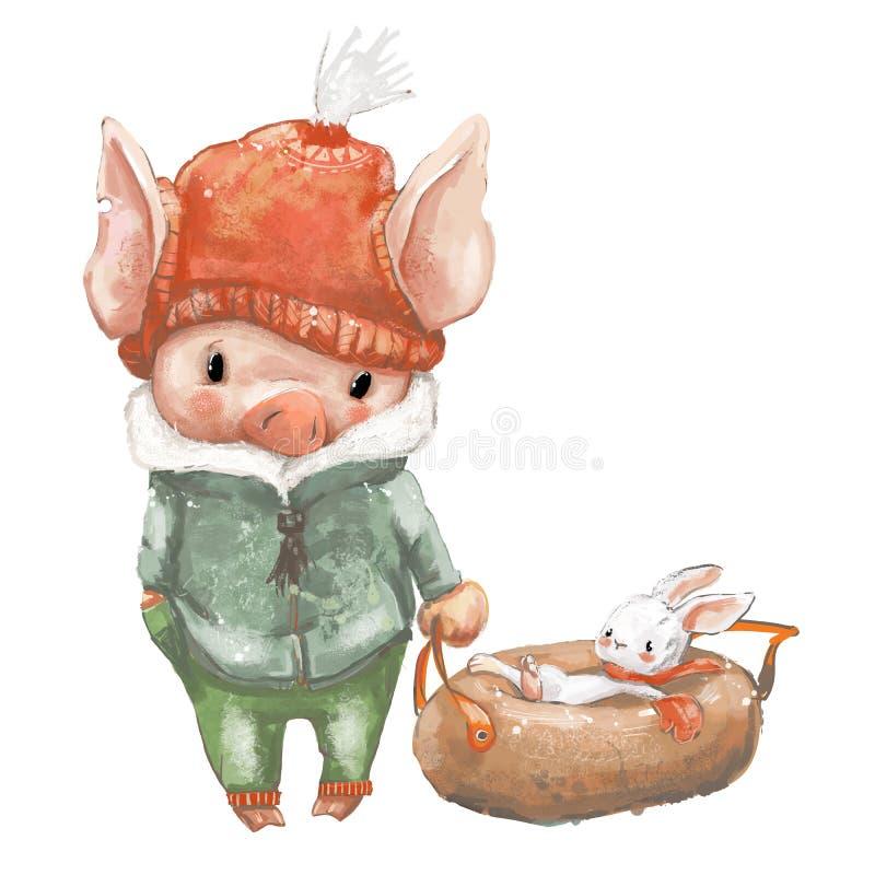Porc mignon et peu de lièvres sur le traîneau illustration libre de droits