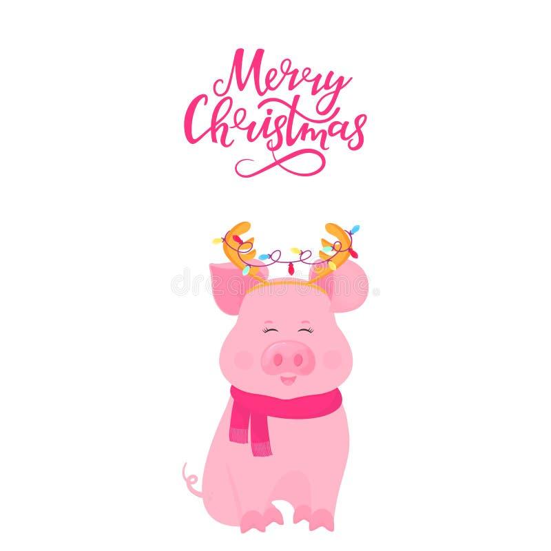 Porc mignon se reposant dans une écharpe et avec des klaxons de cerfs communs avec une guirlande Lettrage de main de Joyeux Noël  illustration de vecteur