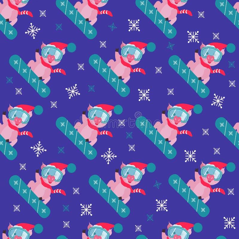 Porc mignon sur le surf des neiges, modèle sans couture Symbole dans le calendrier chinois des 2019 ans Illustration de vecteur S illustration stock