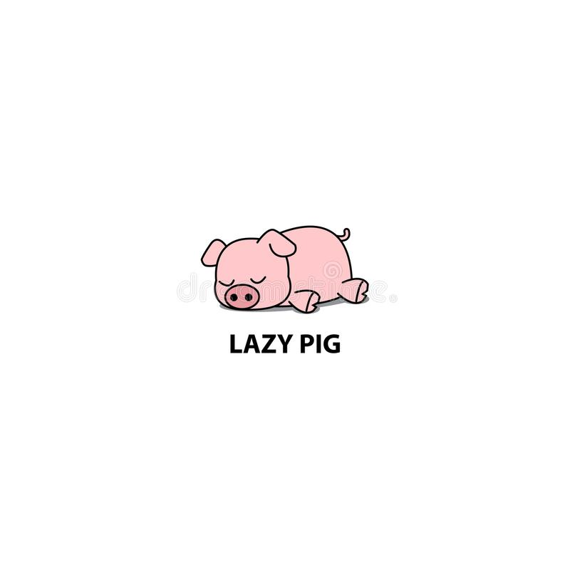Porc paresseux, peu d'icône porcine de sommeil, conception de logo illustration stock
