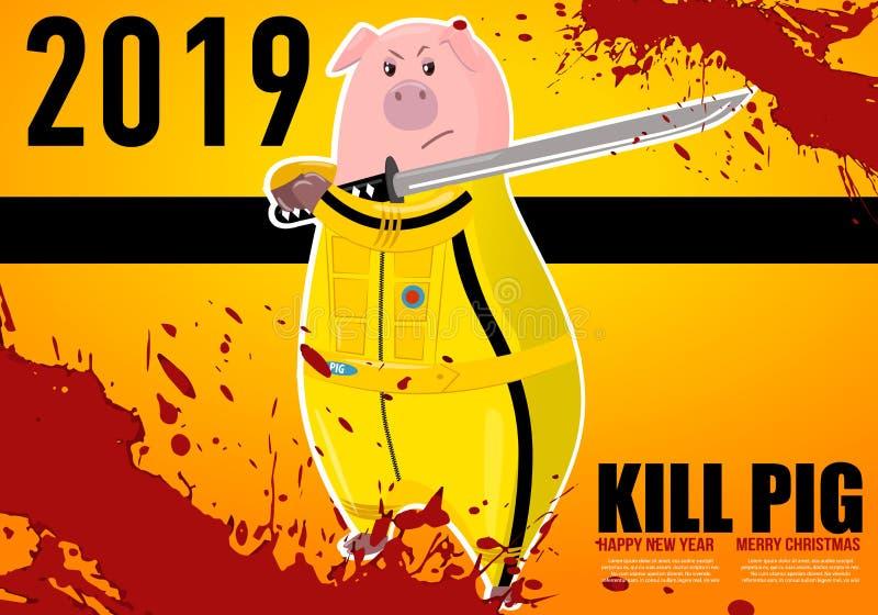 Porc porcin porc Kung-fu, coup-de-pied de karaté Symbole chinois de la nouvelle année 2019 Personnage de dessin animé d'isolement illustration libre de droits