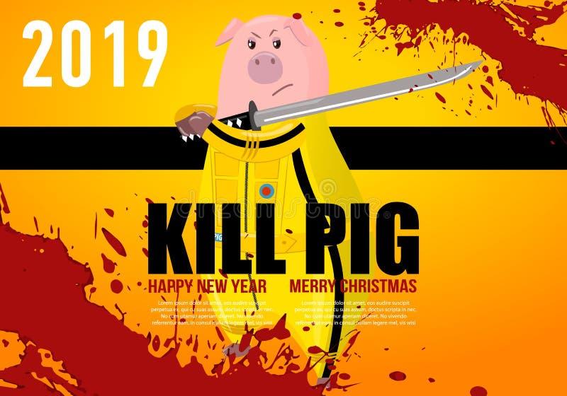 Porc porcin porc Kung-fu, coup-de-pied de karaté Symbole chinois de la nouvelle année 2019 Personnage de dessin animé d'isolement illustration stock