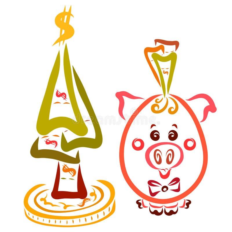Porc riche, tirelire et un arbre de Noël des factures illustration stock
