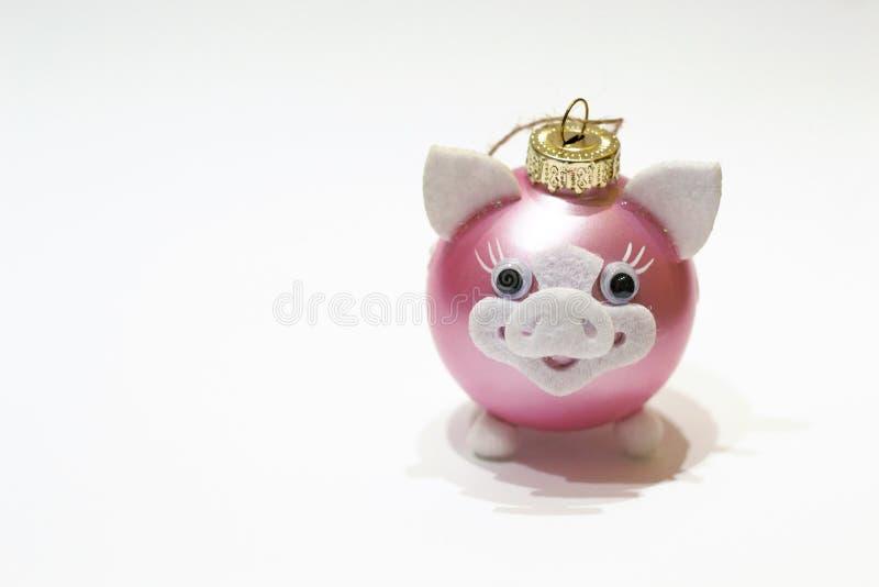 Porc rose de jouet avec le nez et les oreilles comme symbole de la nouvelle année 2019 de la Chine d'isolement sur le fond blanc  images stock
