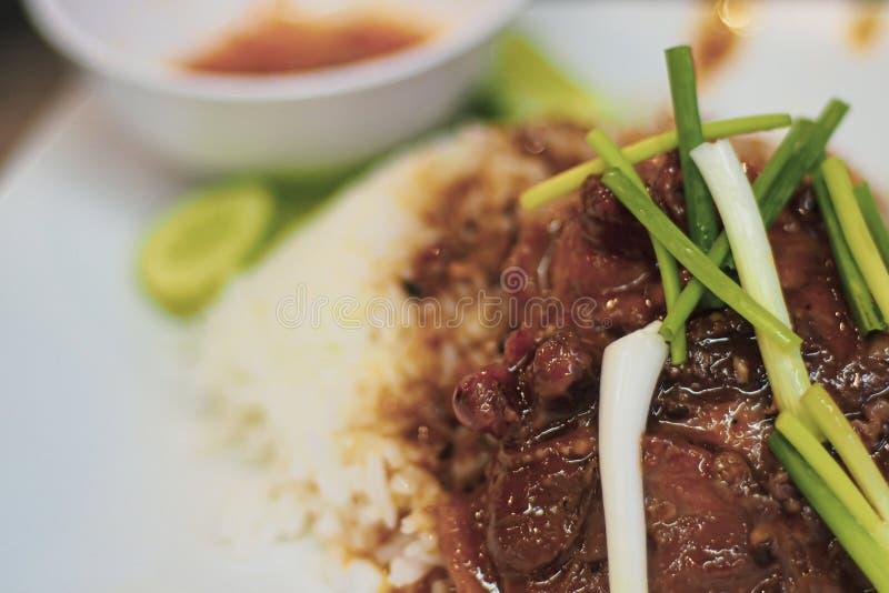 Porc rouge r?ti Porc rouge grill? tout entier en sauce avec du riz Le porc rouge grill? tout entier en sauce avec du riz, style c images stock