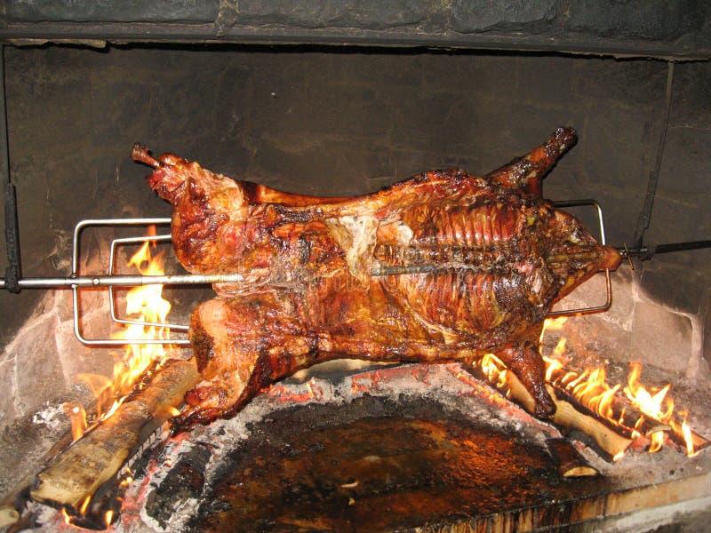 Porc sur la broche image stock