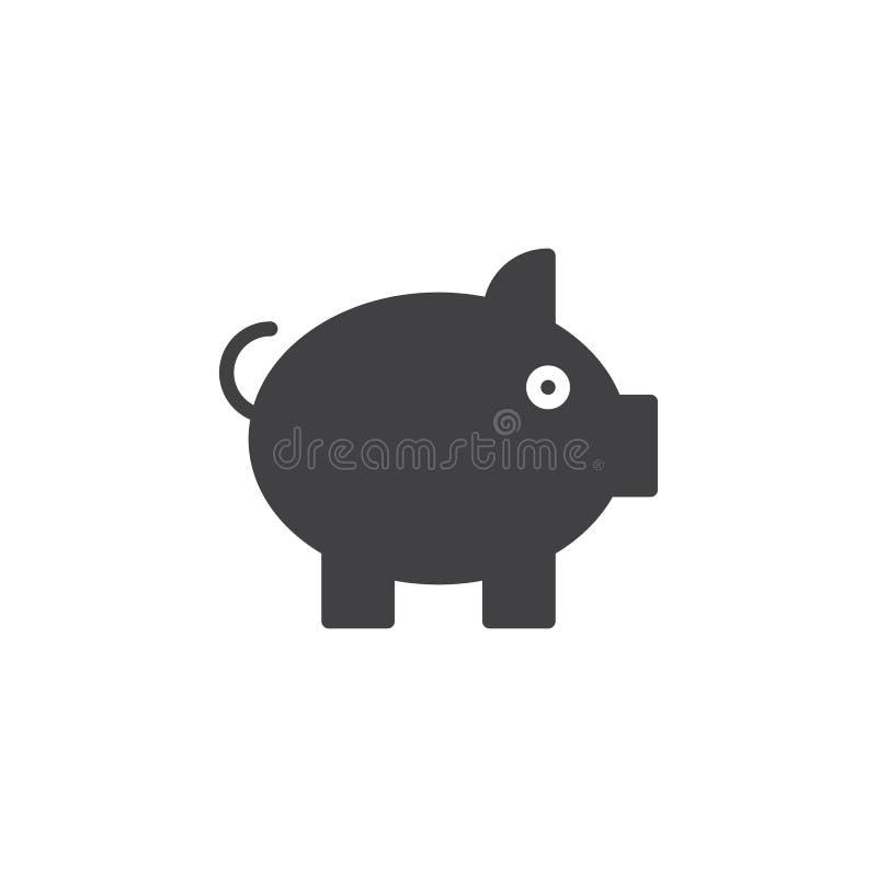 Porc, vecteur d'icône de tirelire, signe plat rempli, pictogramme solide d'isolement sur le blanc illustration de vecteur