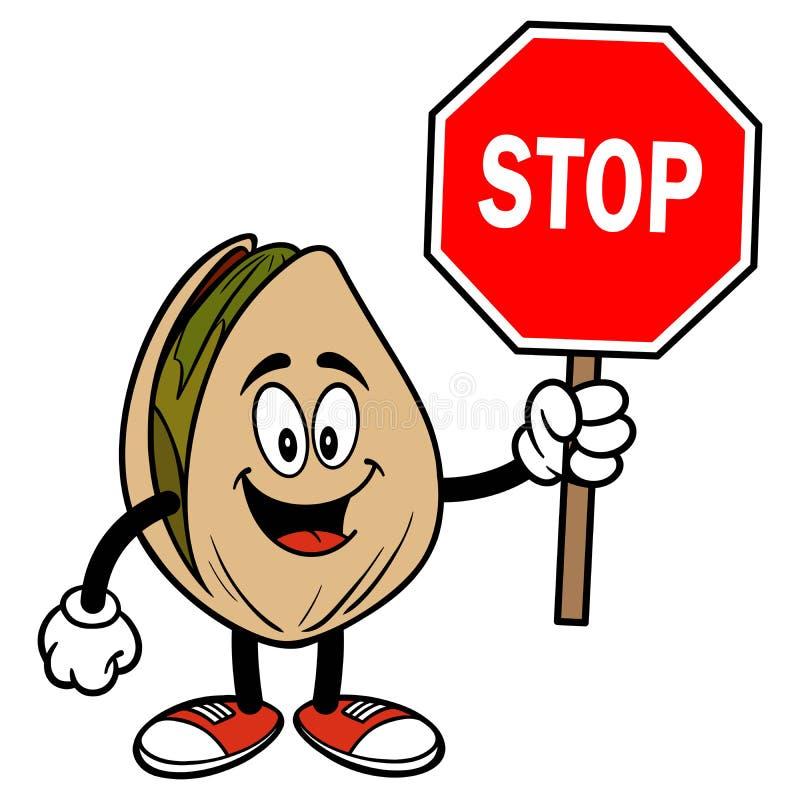 Porca de pistache com um sinal da parada ilustração do vetor