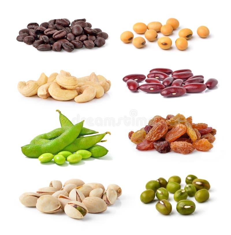 Porcas de caju, feijões verdes, feijões da soja, feijões de café, pistaches, feijão vermelho, passa imagens de stock