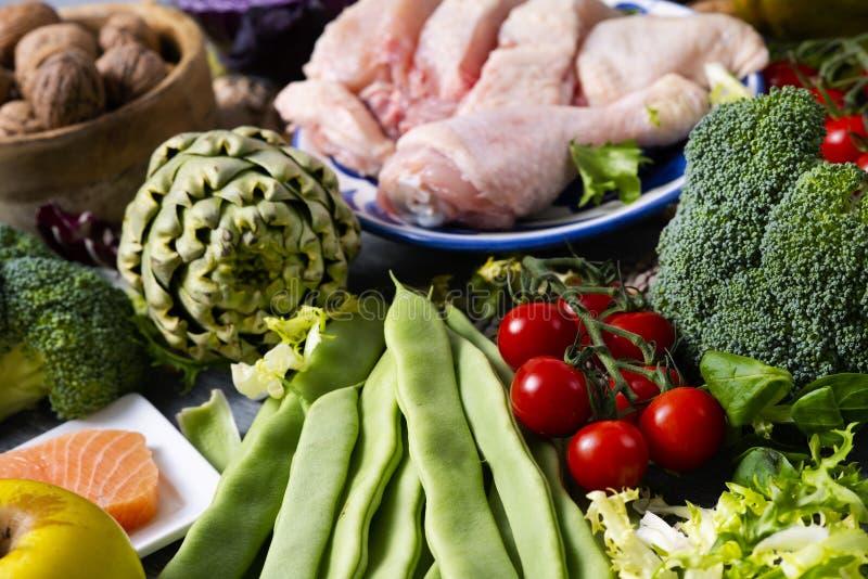 Porcas, frutos, vegetais, peixes e carne fotos de stock royalty free