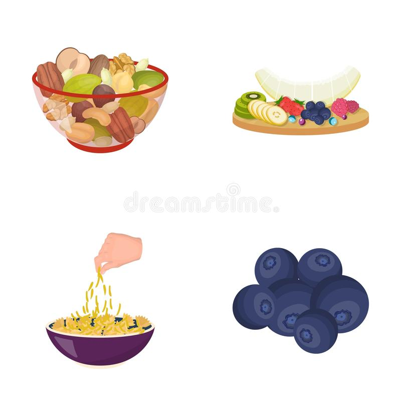 Porcas sortidos, frutos e o outro alimento Os ícones ajustados da coleção do alimento no estilo dos desenhos animados vector a We ilustração do vetor