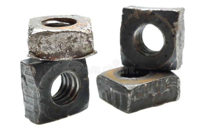 Porcas velhas da máquina do metal foto de stock