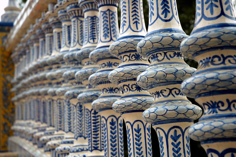 Porcelain baluster. In Sevilla Spain.The spindles look just like antic china stock images