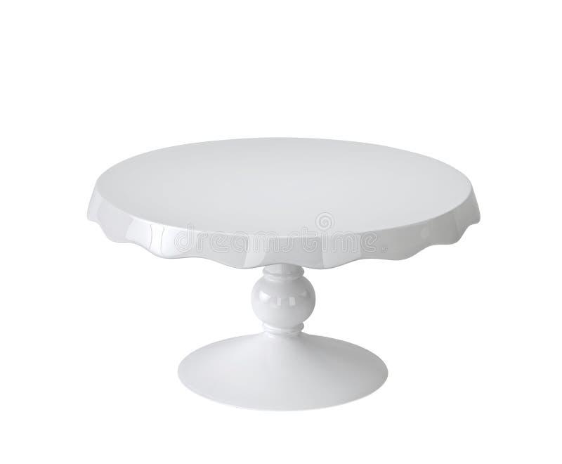 Porcelain cake stand on white stock illustration