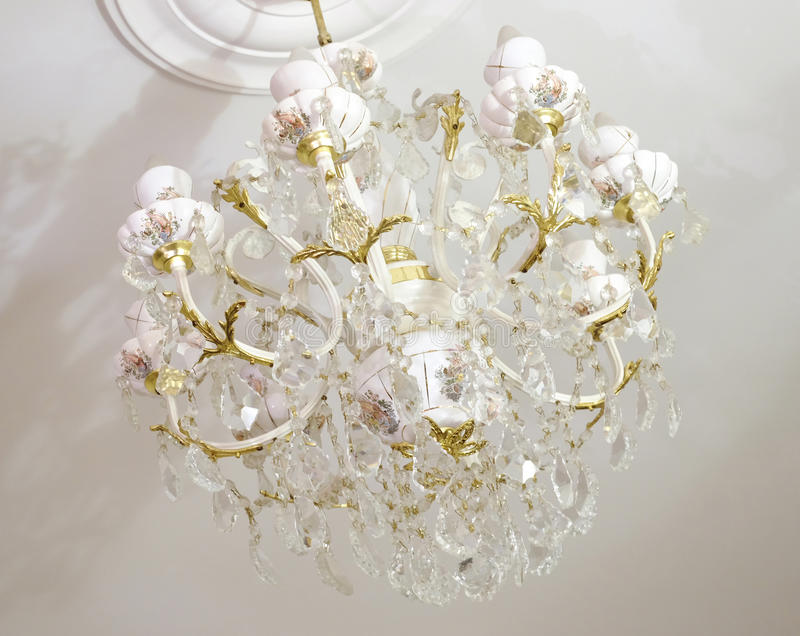 Porcelain chandelier stock image image of decoration 48500887 white porcelain chandelier in sealing aloadofball Gallery