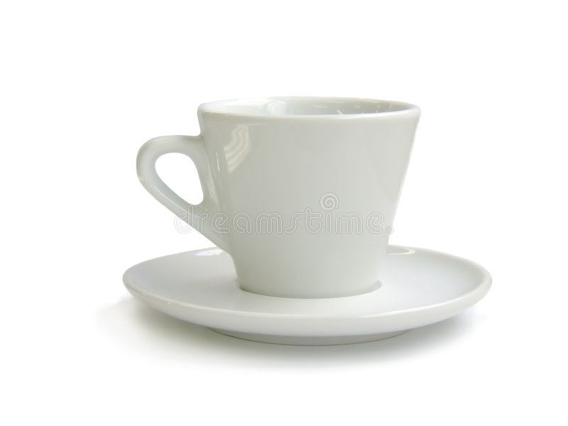 Porcelain cup. Of coffe in white stock images