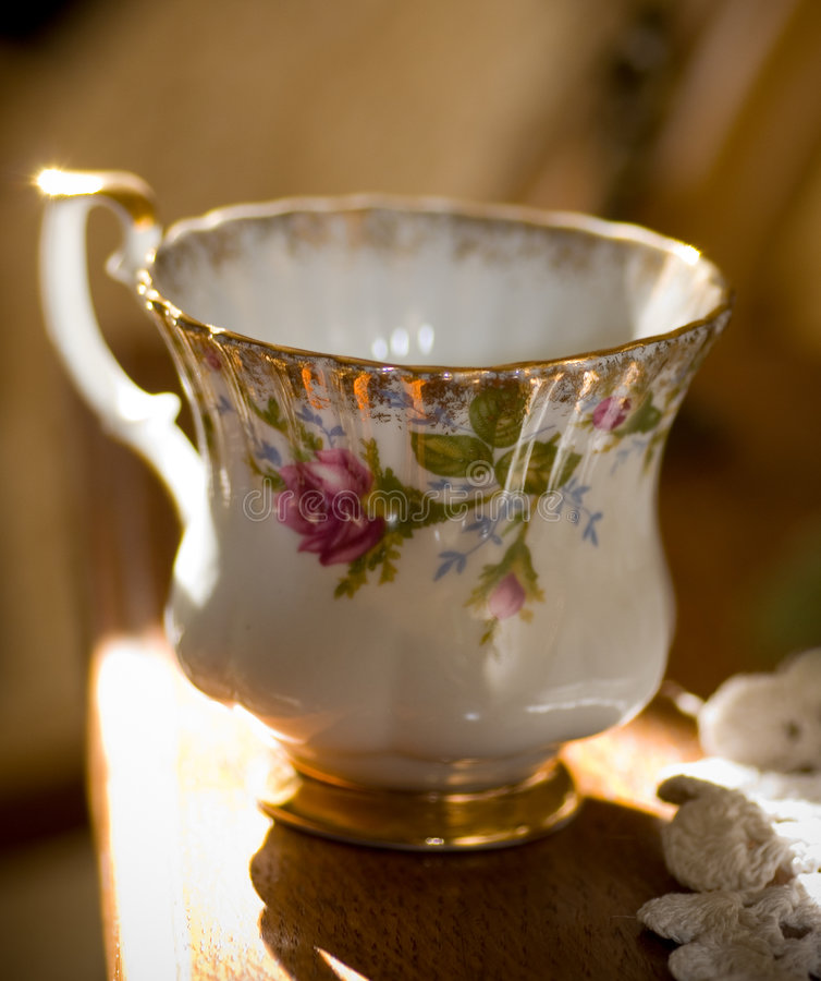 Porcelain Cup. Small porcelain cup close up stock photo