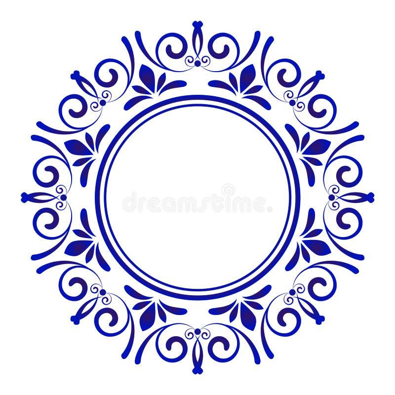 Porcelain decorative frame vector stock illustration