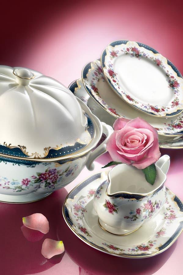 Download Porcelain Dinner Set With Rose Stock Image - Image of ceramic, bowl: 39501751