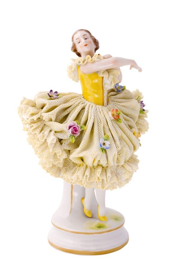 Porcelain doll. Antique porcelain doll on white background royalty free stock photos