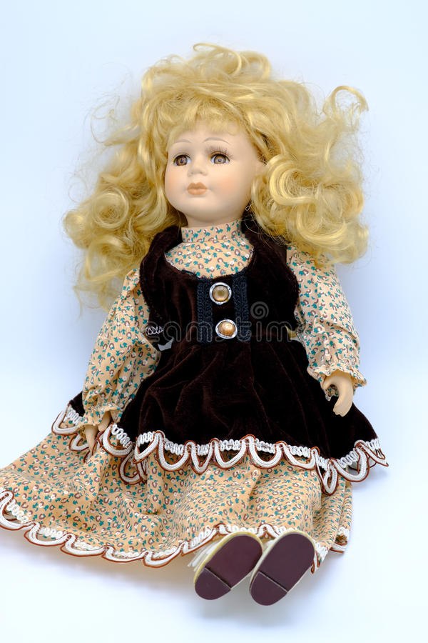 Porcelain doll isolated royalty free stock photography