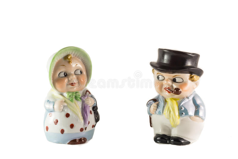 Porcelain figures of grandparents in retro style stock photo